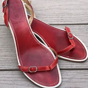 J CREW. Red leather sandals